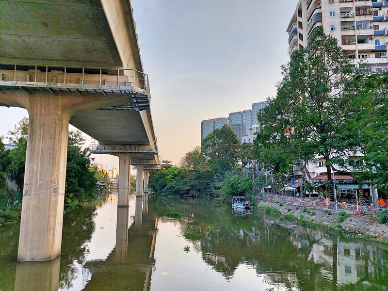 Metro line in canal