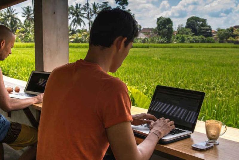 Digital nomads working at Hubud in Ubud, Bali