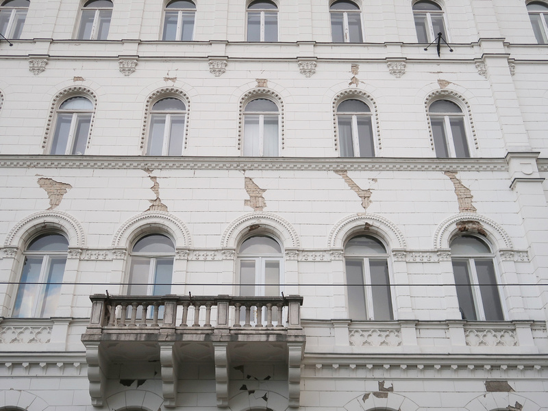 Cracked facade