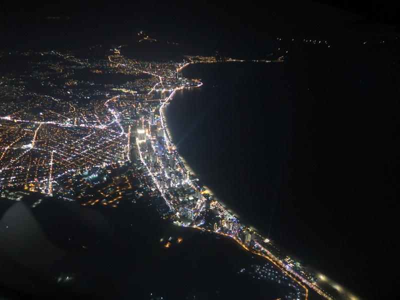 Flying over Nha Trang at night