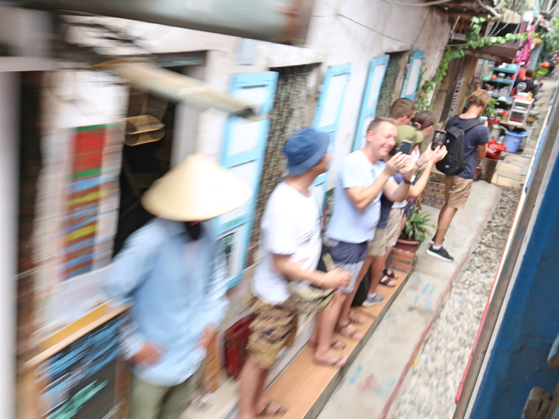 Passing through Hanoi Train Street