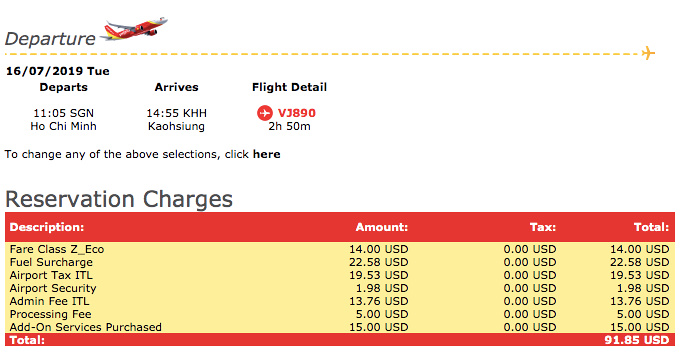 Airfare charges