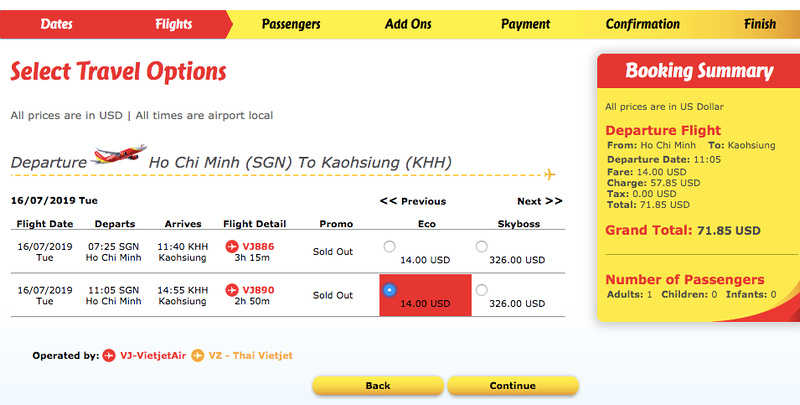 SGN-KHH booking summary