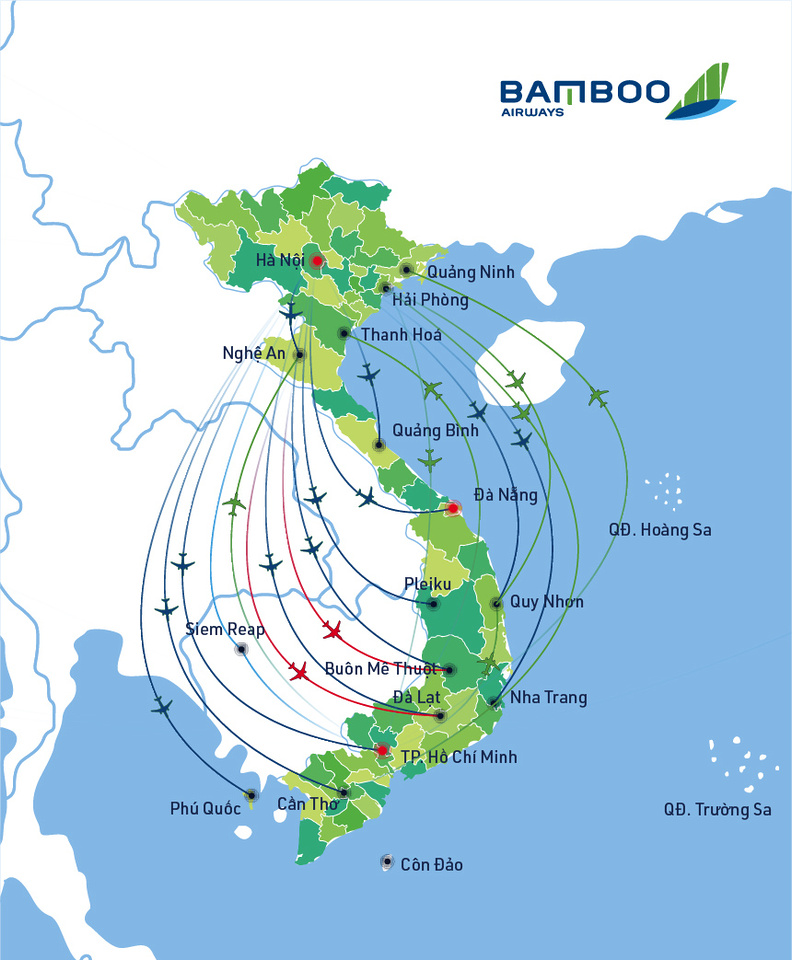 Bamboo Airways Route Map July 2019