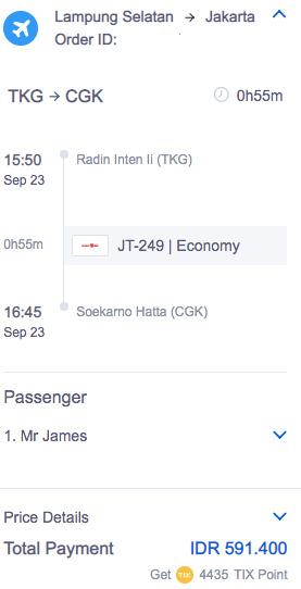 Airfare Bandar Lampung to Jakarta