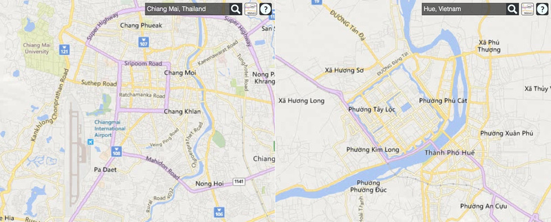 Comparison map of Chiang Mai and Hue