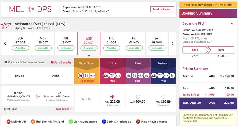 Malindo Air MEL-DPS flights