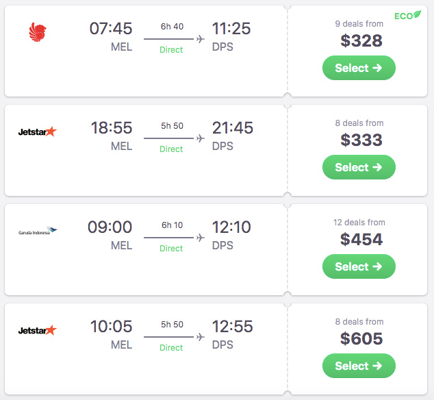 MEL-DPS options on Skyscanner