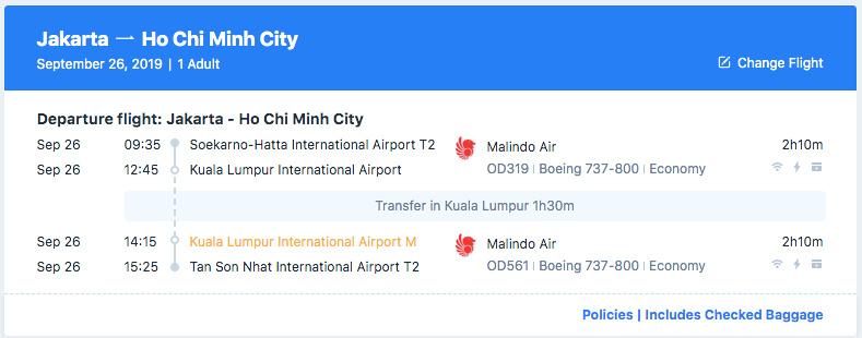 Trip Jakarta to Ho Chi Minh City