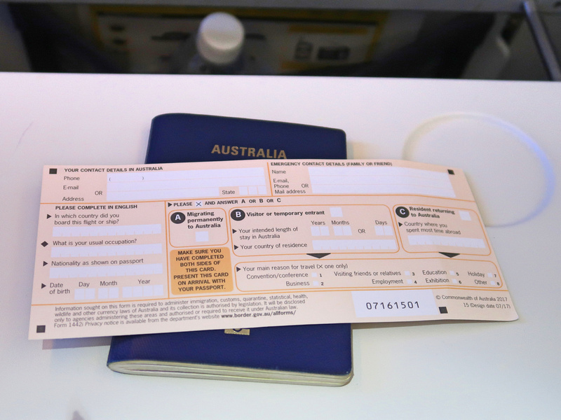 Australian landing card