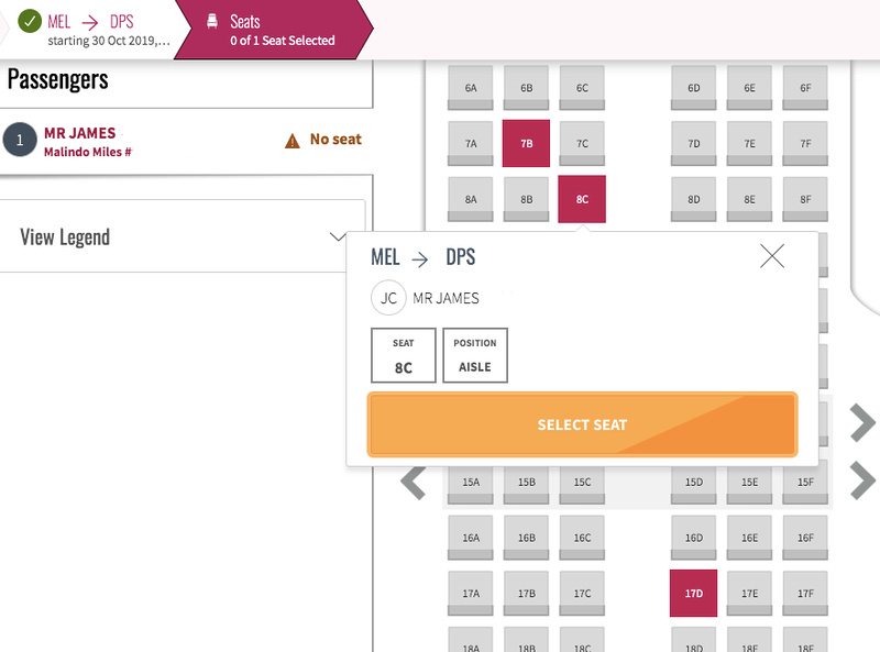 Seat selection MEL-DPS