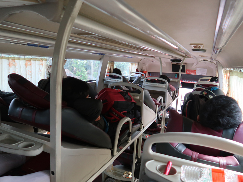 Bed seats on the bus to Tra Vinh