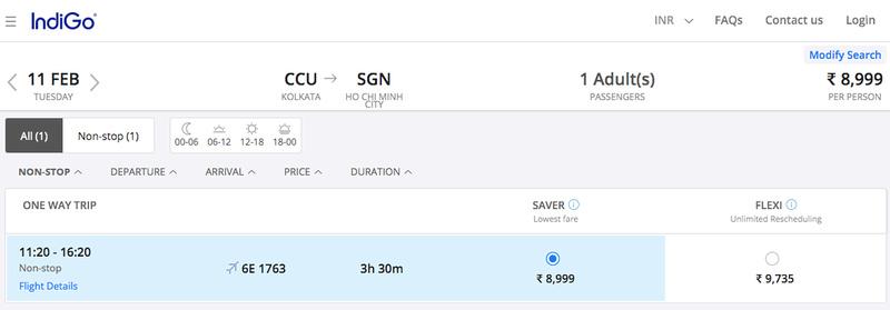 CCU-SGN booking