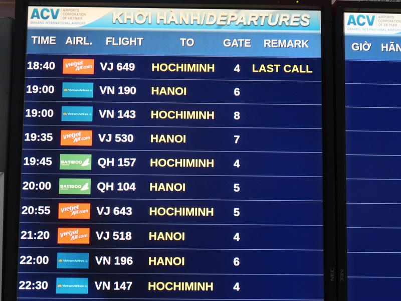Danang domestic departures