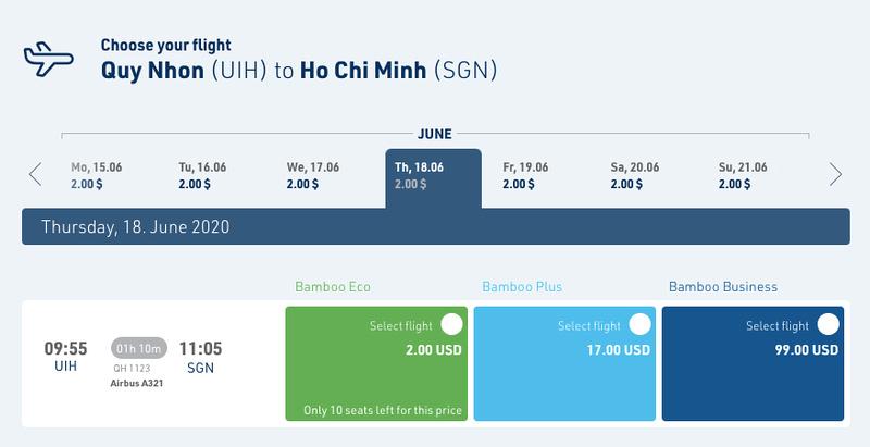 Flight option UIH-SGN