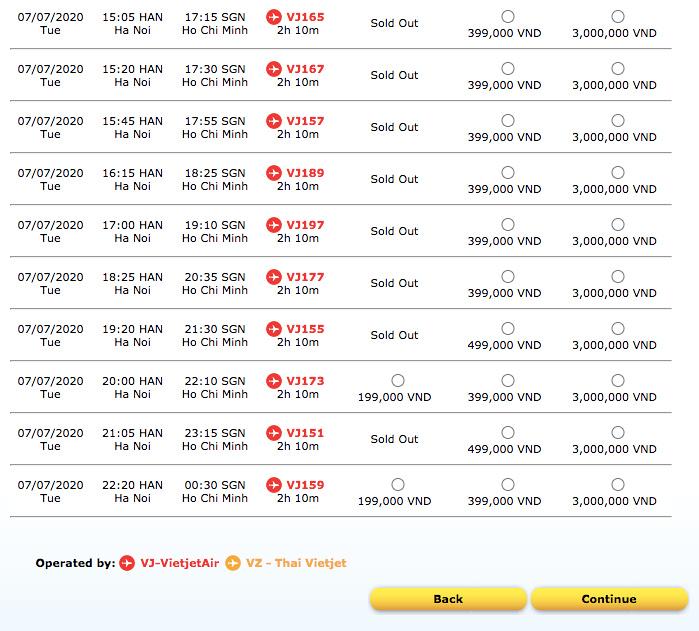 HAN-SGN flights