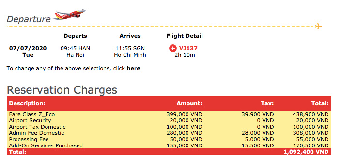 VietJet Air reservation charges