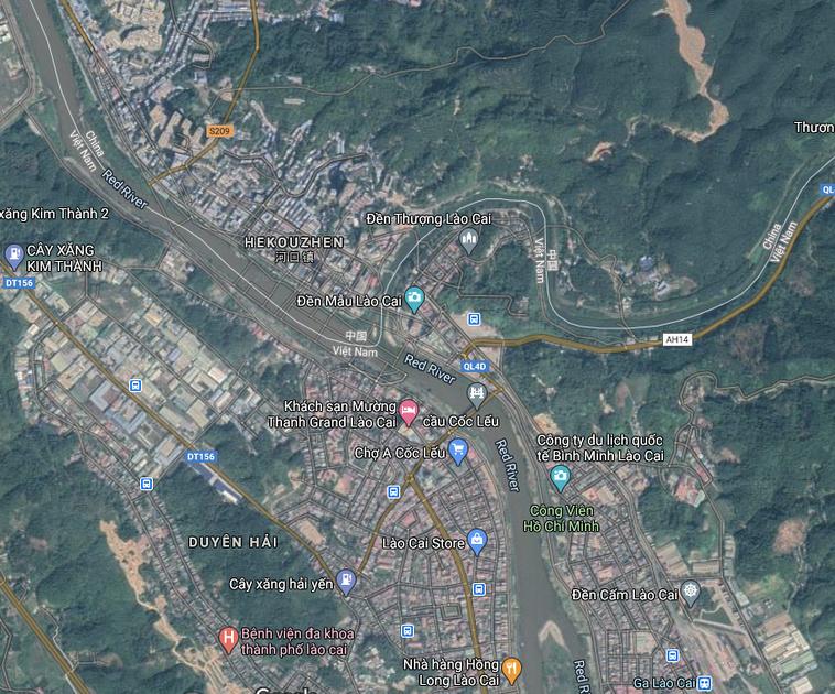 Lao Cai on Google Maps satellite view