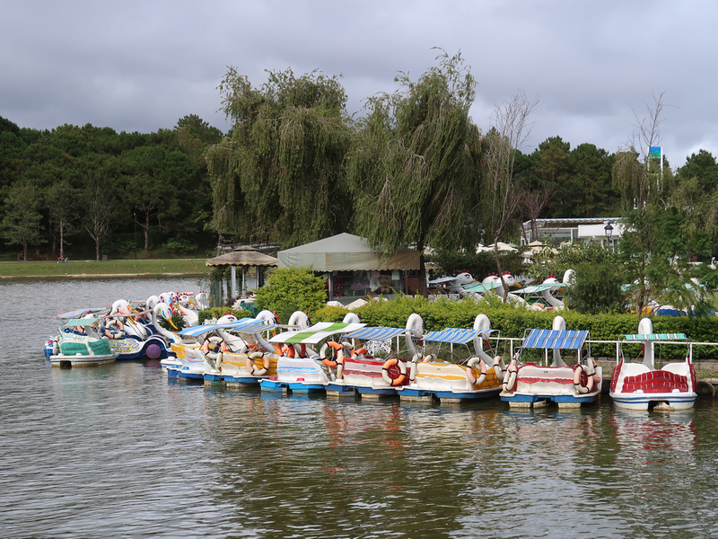 Paddle boats on Xuan Huong Lake