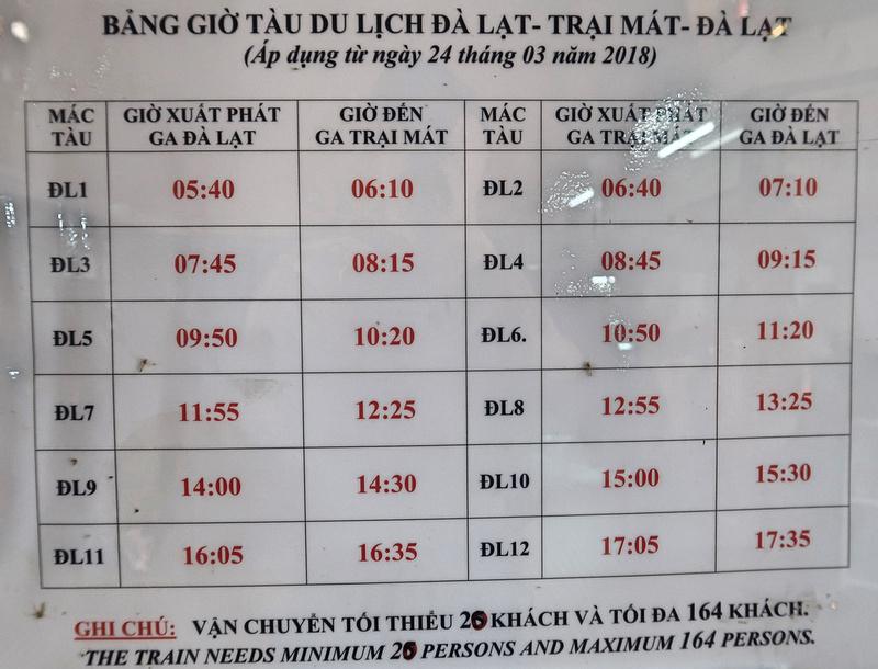Da Lat - Trai Mat timetable