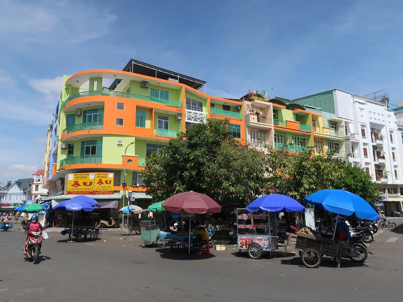 Colourful concrete buildings