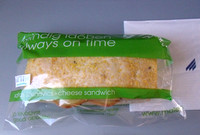 Malev inflight meals. Onboard snack (cheese sandwich) on Malév Hungarian Airlines.