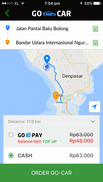 Gocar Canggu to Airport