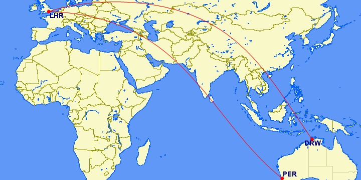 London to Perth and Darwin