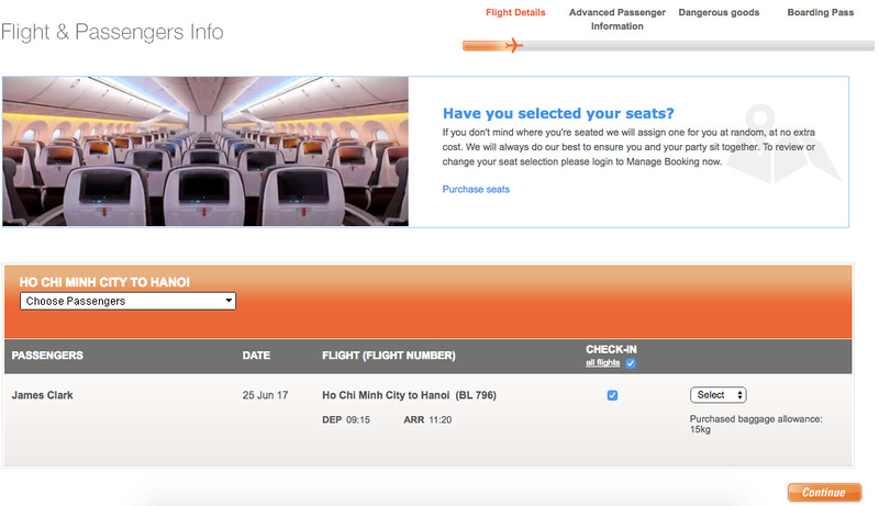Jetstar Pacific online check-in