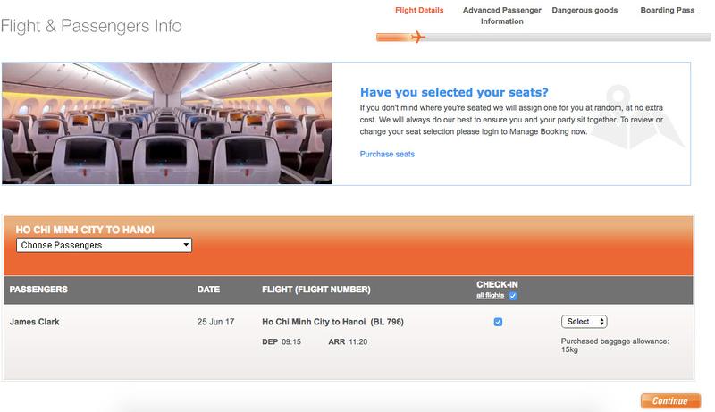 Jetstar Pacific online check-in