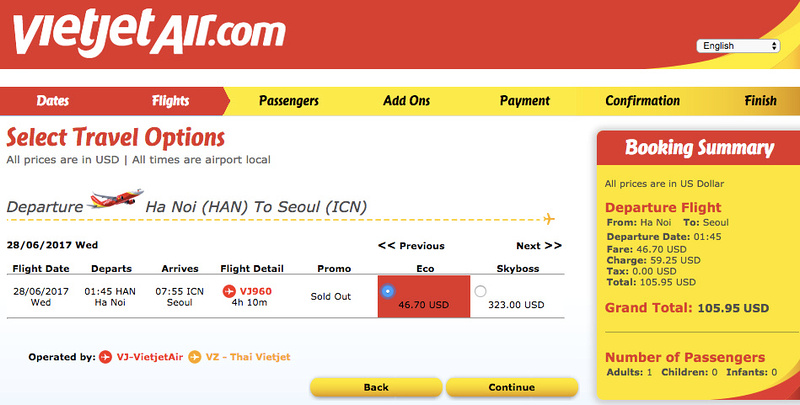 Hanoi - Seoul flight price