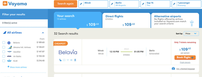 Vayama Belavia booking