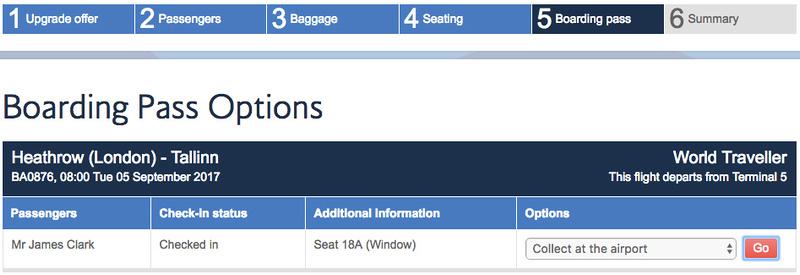 Boarding pass options