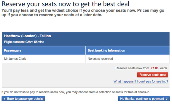 British Airways - reserve your seats