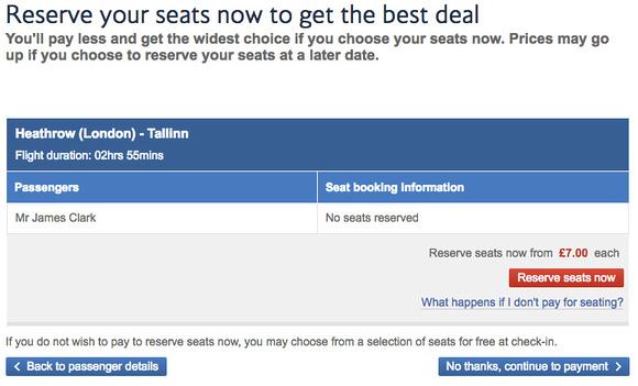 British Airways - reserve your seats
