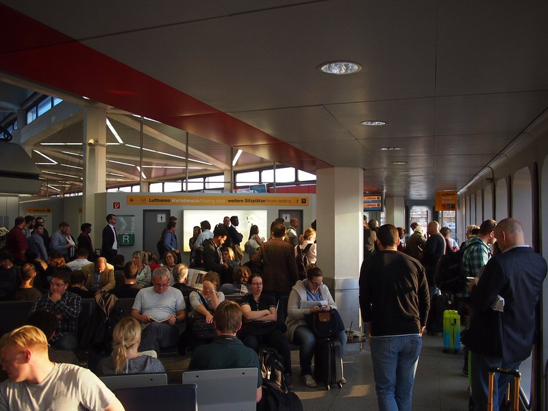 Berlin Tegel Airport crowded departures