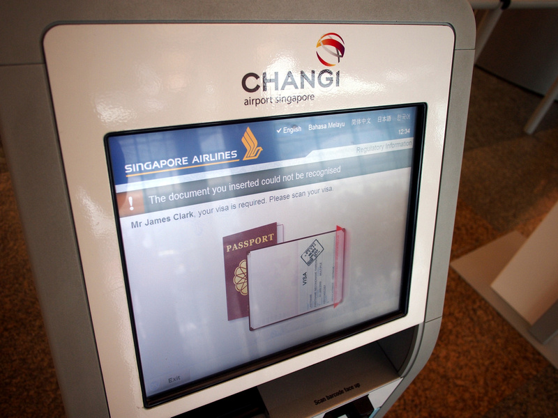 Singapore Changi Airport visa scan