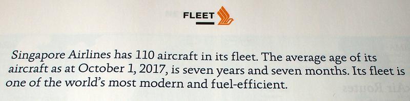 Singapore Airlines fleet age