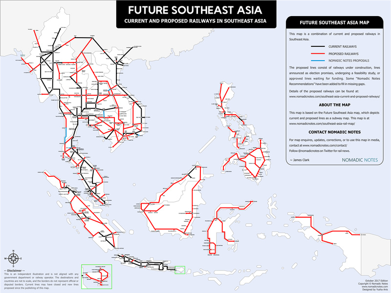 Current and proposed railways of Southeast Asia (2017)