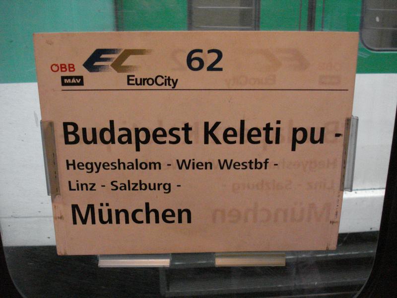 Budapest to Munich by train
