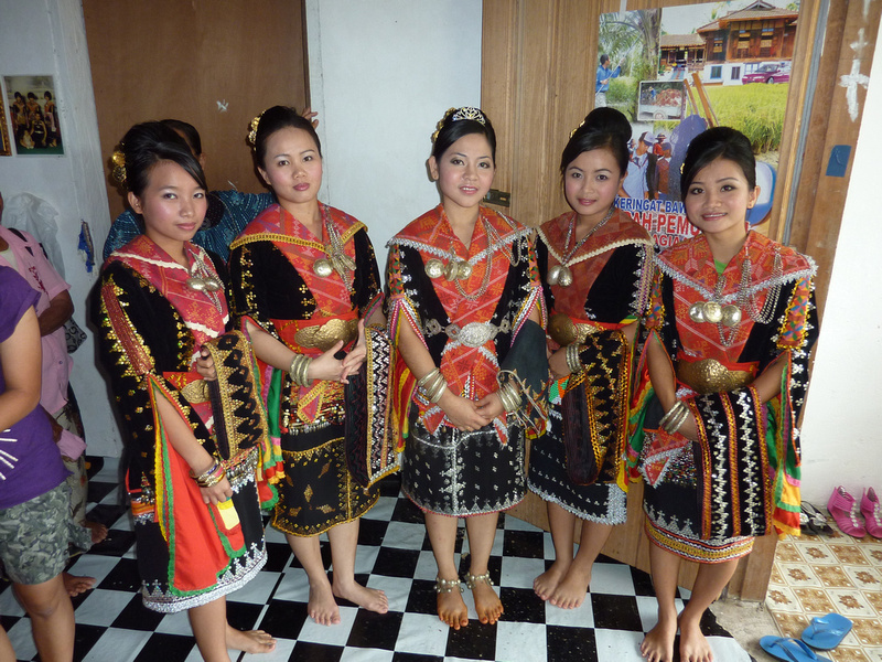 Dusun women in wedding clothes