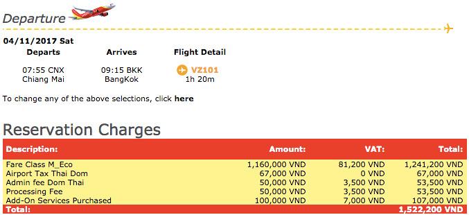 CNX-BKK booking