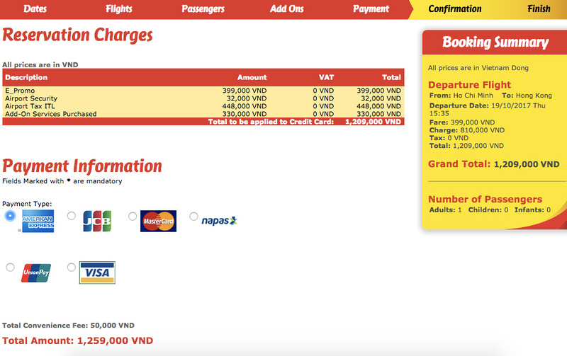SGN-HKG booking