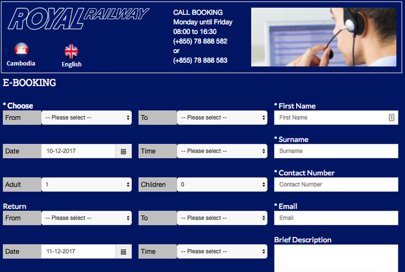 Royal Railway online booking