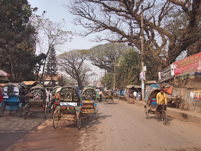 Strand rickshaws and trees