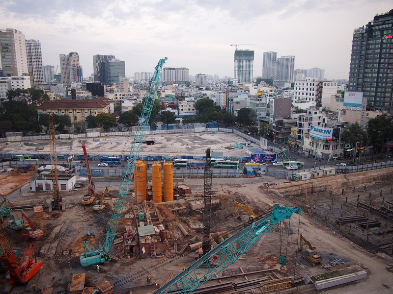 Ben Thanh Central Station and Spirit of Saigon construction area