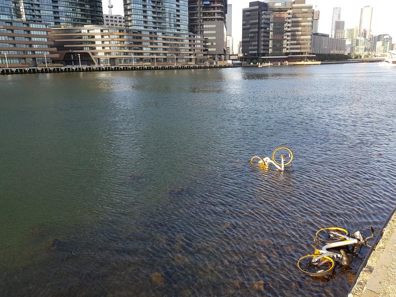 o-bikes in river