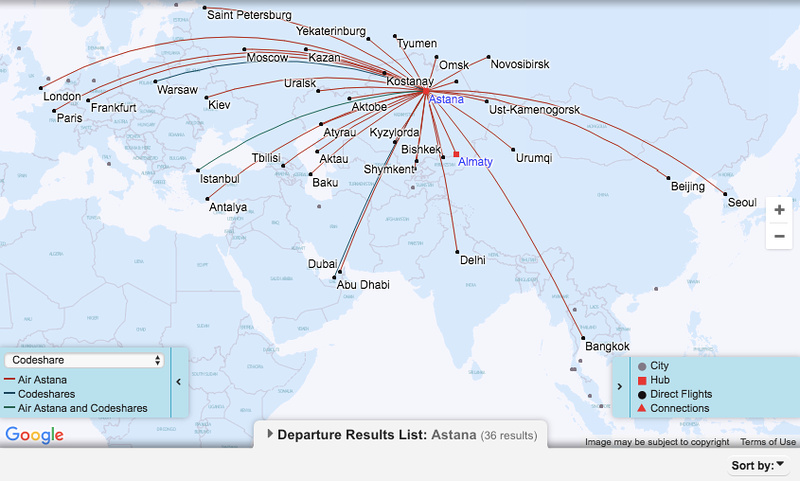 Air Astana - Astana route map