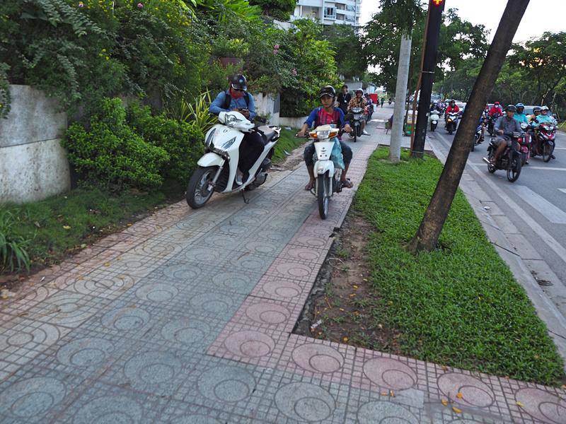 Bikes on footpath