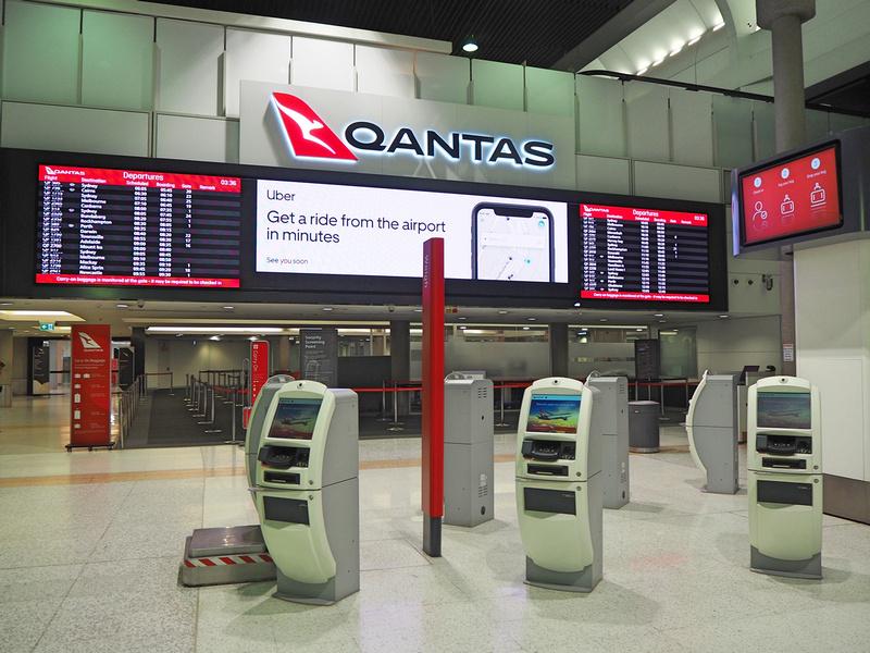 Qantas domestic check-in kiosks